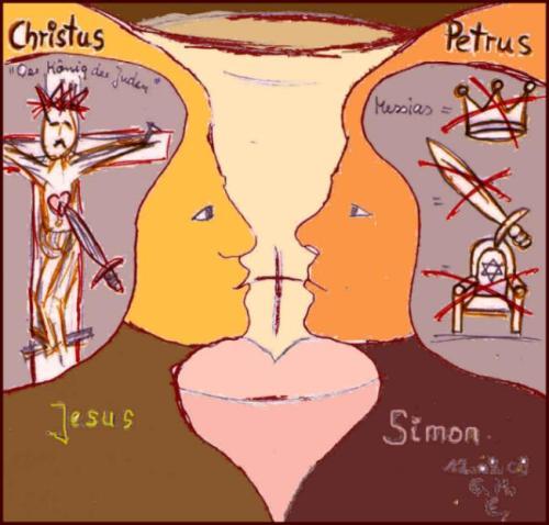 "Grafik: ""Christus zu Petrus: mir nach!  (c) G. M. Ehlert, 12. Sept. 2009"