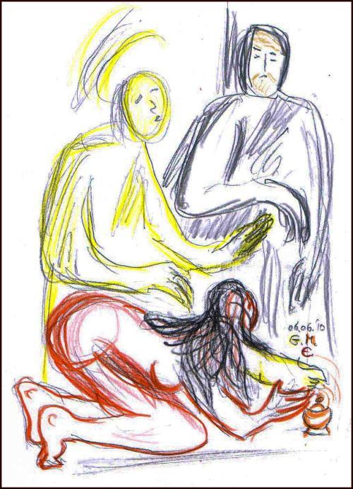 Jesus und die Sünderin im Haus des Pharisäers Simon