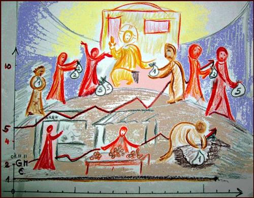 Anvertraute Talente - Skizze zu Mt 25,14-30 (c) G. M. Ehlert, Nov. 2011