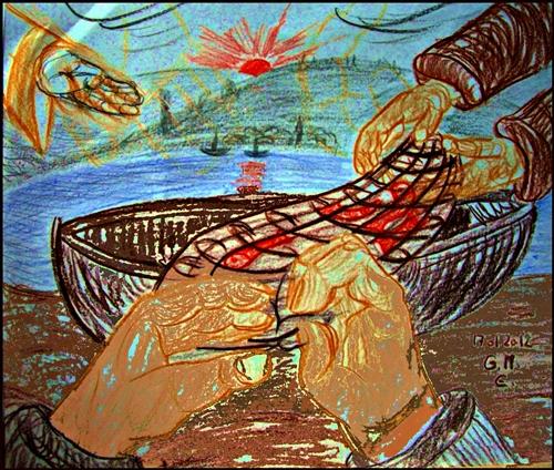 """""""Fischer zu Menschenfischer"""" - Grafik von G. M. Ehlert, 17.01.2012"""