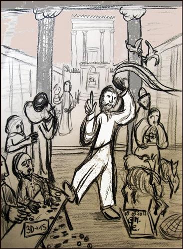 Tempelreinigung Jesu - Skizze zu Joh 2,13-25 (c) G. M. Ehlert, 05.03.2012