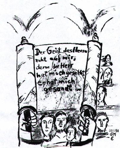 Primizpredigt Jesu - Zeichnung (c) G. M. Ehlert 20.01.1998