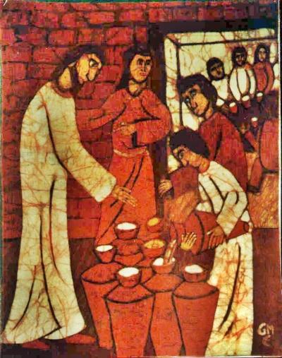 Anfang der Zeichen Jesu auf der Hochzeit zu Kana - Batik (c) G. M. Ehlert