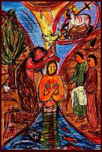 Johannes tauft Jesus im Jordan  +  Seht, das Lamm Gottes,  das die Sünde der Welt hinwegnimmt. Bild von G.M. Ehlert 2002