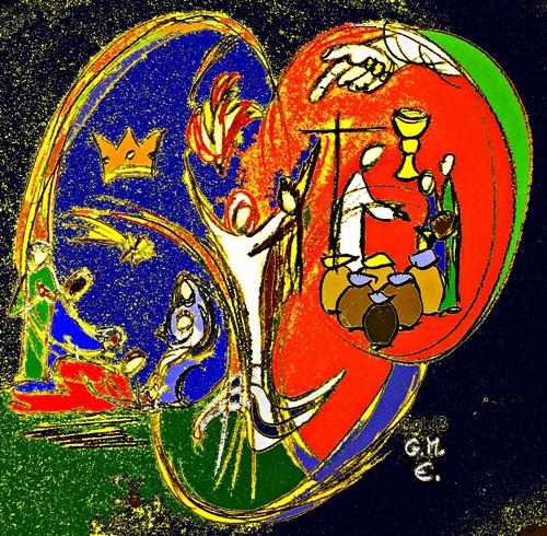Erscheinung der Göttlichkeit Jesu: a) in der Begegnung mit den Sterndeutern aus dem Morgenland; b) bei der Taufe Jesu im Jordan u. c) bei der Hochzeit in Kana - Grafik: (c) G. M. Ehlert, 13.01.2013