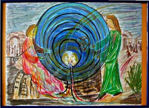 """""""Jesus u. die Samaritanerin am Jakobsbrunnen"""" - Grafik von G. M. Ehlert"""