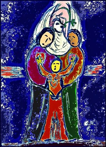 """""""Nehmt einander an, wie Christus euch angenommen hat zu Gottes Lob."""" (Röm 15,7) - Jahreslosung 2015, Grafik: (c) G. M. Ehlert"""