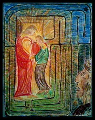 Der barmherzige Vater und das wieder-nach-Hause-finden der beiden Söhne - Bild von G.M. Ehlert, 1999