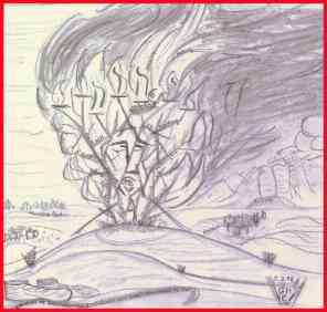 In den Dornen der Not - Gott zeigt sich dem Mose im brennenden Dornbusch, - Zeichnung von G.M. Ehlert
