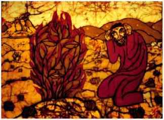 Gott begegnet Mose im brennenden Dornbusch in der Wüste - Batik von G.M. Ehlert